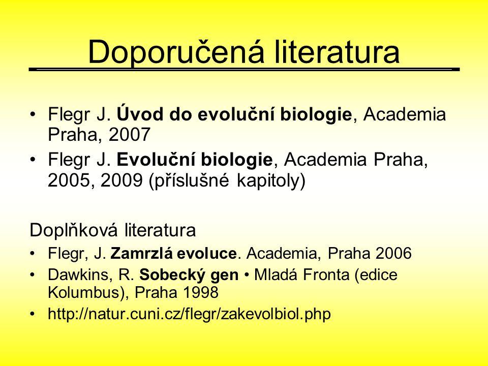 Doporučená literatura Flegr J. Úvod do evoluční biologie, Academia Praha, 2007 Flegr J. Evoluční biologie, Academia Praha, 2005, 2009 (příslušné kapit