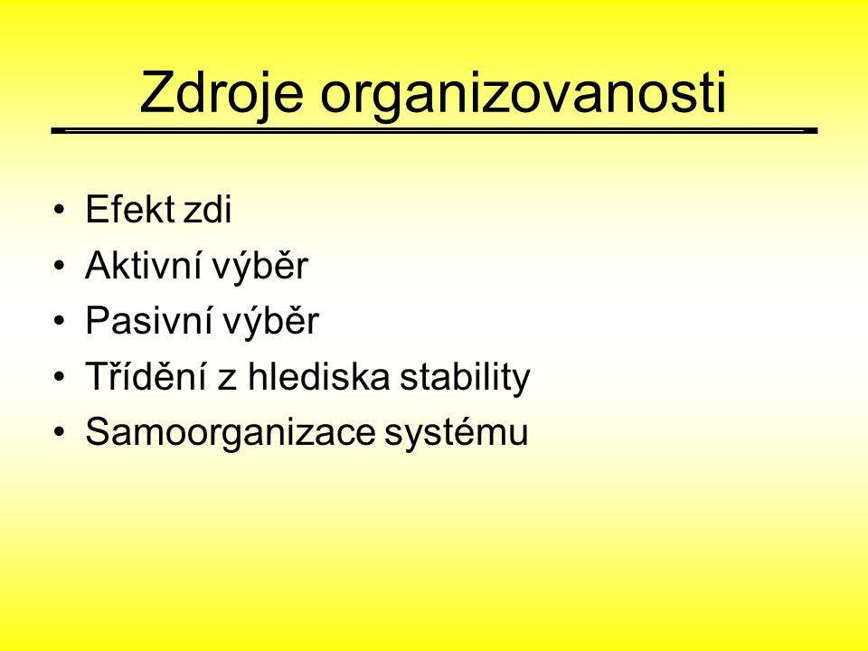 Zdroje organizovanosti Efekt zdi Aktivní výběr Pasivní výběr Třídění z hlediska stability Samoorganizace systému
