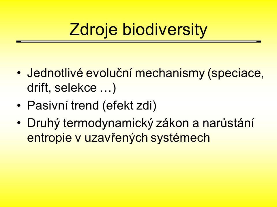 Zdroje biodiversity Jednotlivé evoluční mechanismy (speciace, drift, selekce …) Pasivní trend (efekt zdi) Druhý termodynamický zákon a narůstání entropie v uzavřených systémech