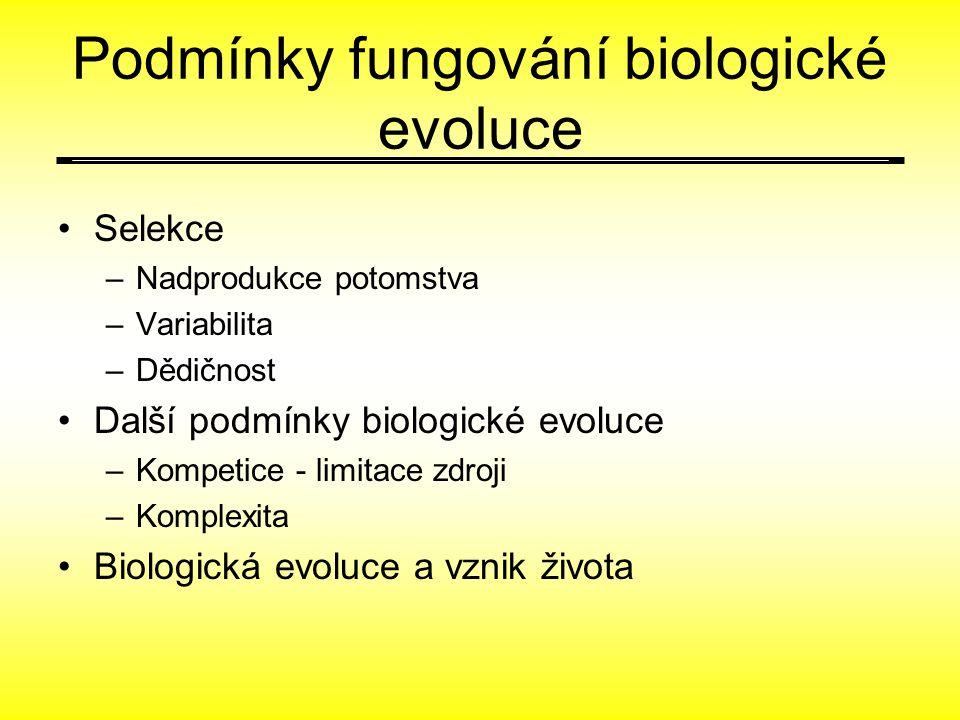 Podmínky fungování biologické evoluce Selekce –Nadprodukce potomstva –Variabilita –Dědičnost Další podmínky biologické evoluce –Kompetice - limitace zdroji –Komplexita Biologická evoluce a vznik života