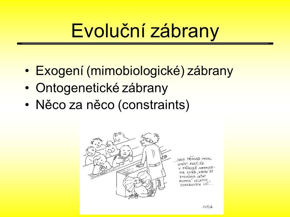 Evoluční zábrany Exogení (mimobiologické) zábrany Ontogenetické zábrany Něco za něco (constraints)