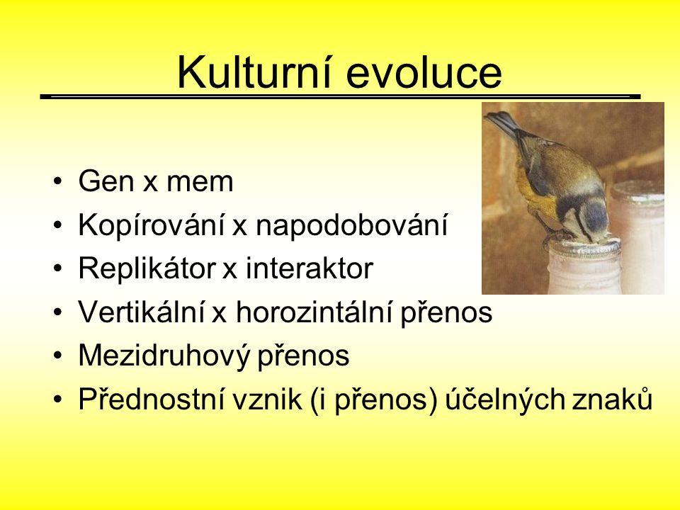 Kulturní evoluce Gen x mem Kopírování x napodobování Replikátor x interaktor Vertikální x horozintální přenos Mezidruhový přenos Přednostní vznik (i p