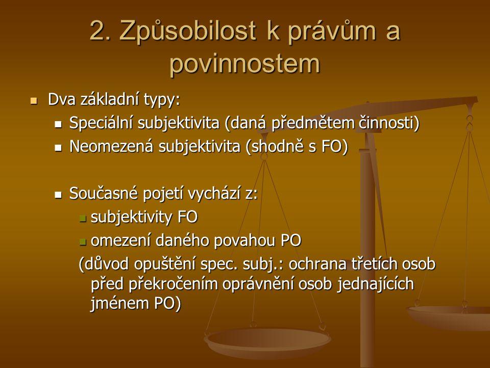 2. Způsobilost k právům a povinnostem Dva základní typy: Dva základní typy: Speciální subjektivita (daná předmětem činnosti) Speciální subjektivita (d