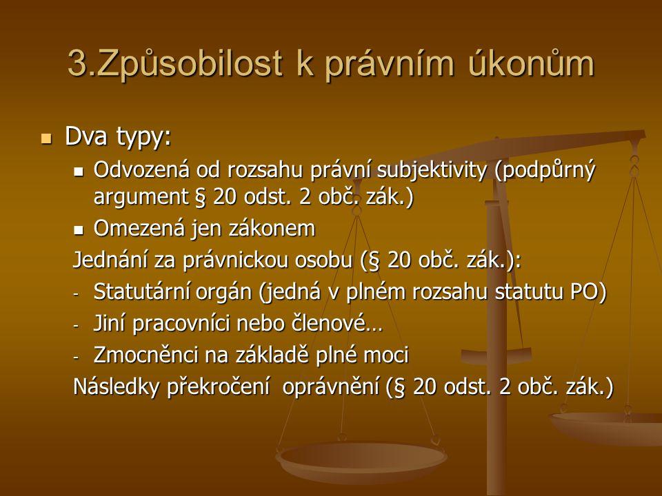 3.Způsobilost k právním úkonům Dva typy: Dva typy: Odvozená od rozsahu právní subjektivity (podpůrný argument § 20 odst. 2 obč. zák.) Odvozená od rozs