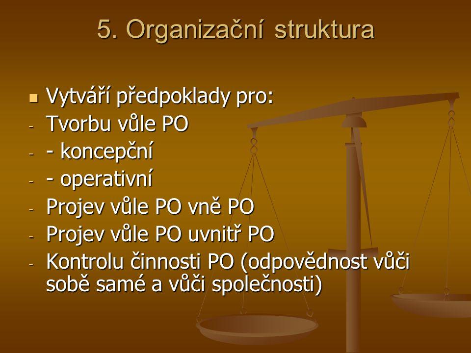 5. Organizační struktura Vytváří předpoklady pro: Vytváří předpoklady pro: - Tvorbu vůle PO - - koncepční - - operativní - Projev vůle PO vně PO - Pro