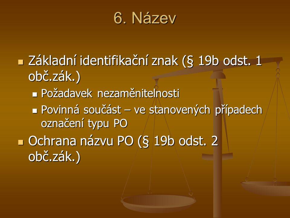 6. Název Základní identifikační znak (§ 19b odst. 1 obč.zák.) Základní identifikační znak (§ 19b odst. 1 obč.zák.) Požadavek nezaměnitelnosti Požadave