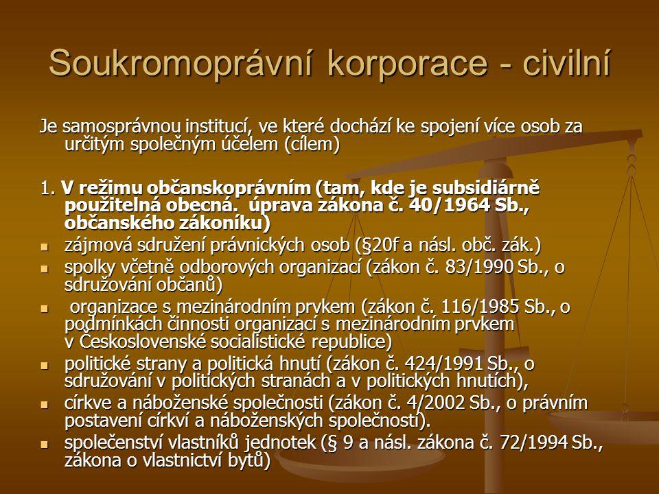 Soukromoprávní korporace - civilní Je samosprávnou institucí, ve které dochází ke spojení více osob za určitým společným účelem (cílem) 1. V režimu ob