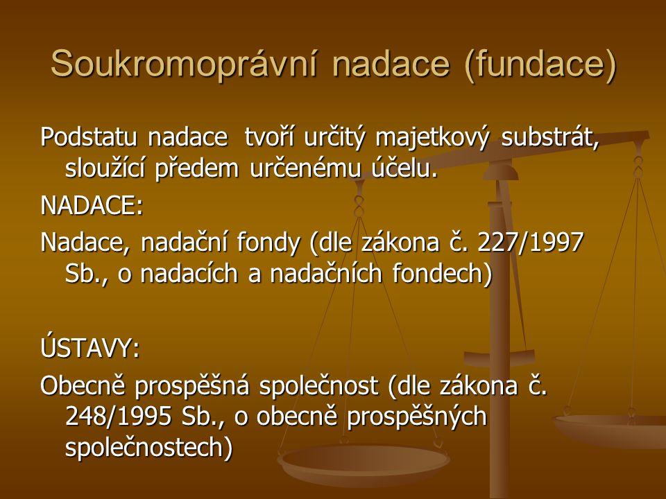 Soukromoprávní nadace (fundace) Podstatu nadace tvoří určitý majetkový substrát, sloužící předem určenému účelu. NADACE: Nadace, nadační fondy (dle zá