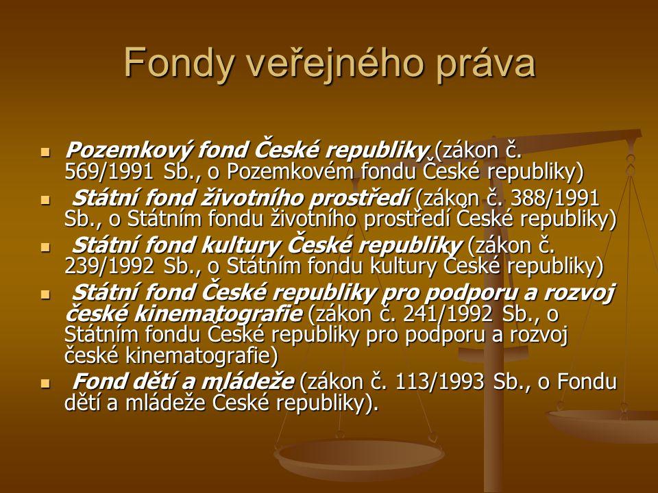 Fondy veřejného práva Pozemkový fond České republiky (zákon č. 569/1991 Sb., o Pozemkovém fondu České republiky) Pozemkový fond České republiky (zákon