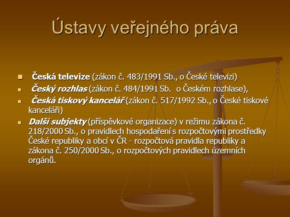 Ústavy veřejného práva Česká televize (zákon č. 483/1991 Sb., o České televizi) Česká televize (zákon č. 483/1991 Sb., o České televizi) Český rozhlas