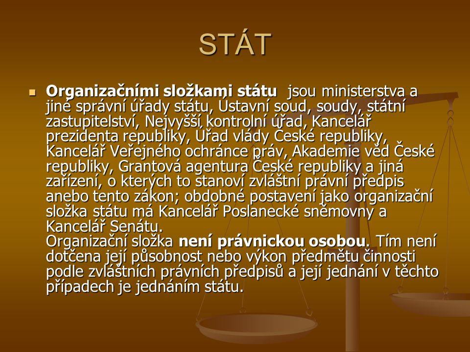 STÁT Organizačními složkami státu jsou ministerstva a jiné správní úřady státu, Ústavní soud, soudy, státní zastupitelství, Nejvyšší kontrolní úřad, K