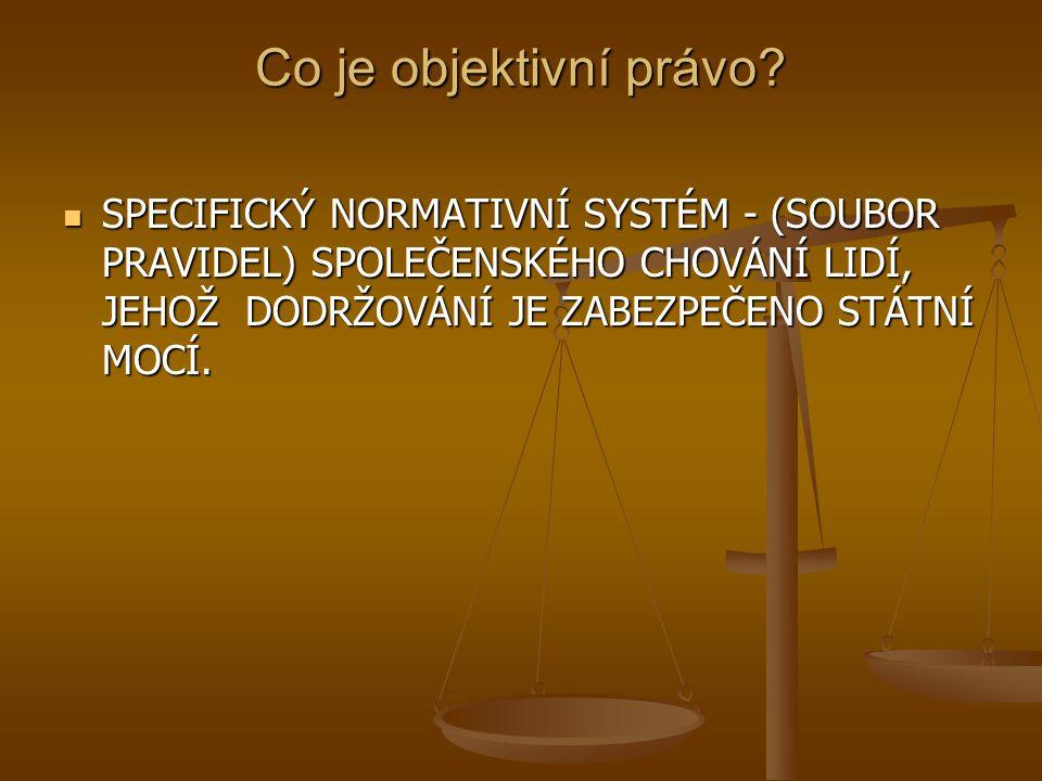 Co je objektivní právo? SPECIFICKÝ NORMATIVNÍ SYSTÉM - (SOUBOR PRAVIDEL) SPOLEČENSKÉHO CHOVÁNÍ LIDÍ, JEHOŽ DODRŽOVÁNÍ JE ZABEZPEČENO STÁTNÍ MOCÍ. SPEC