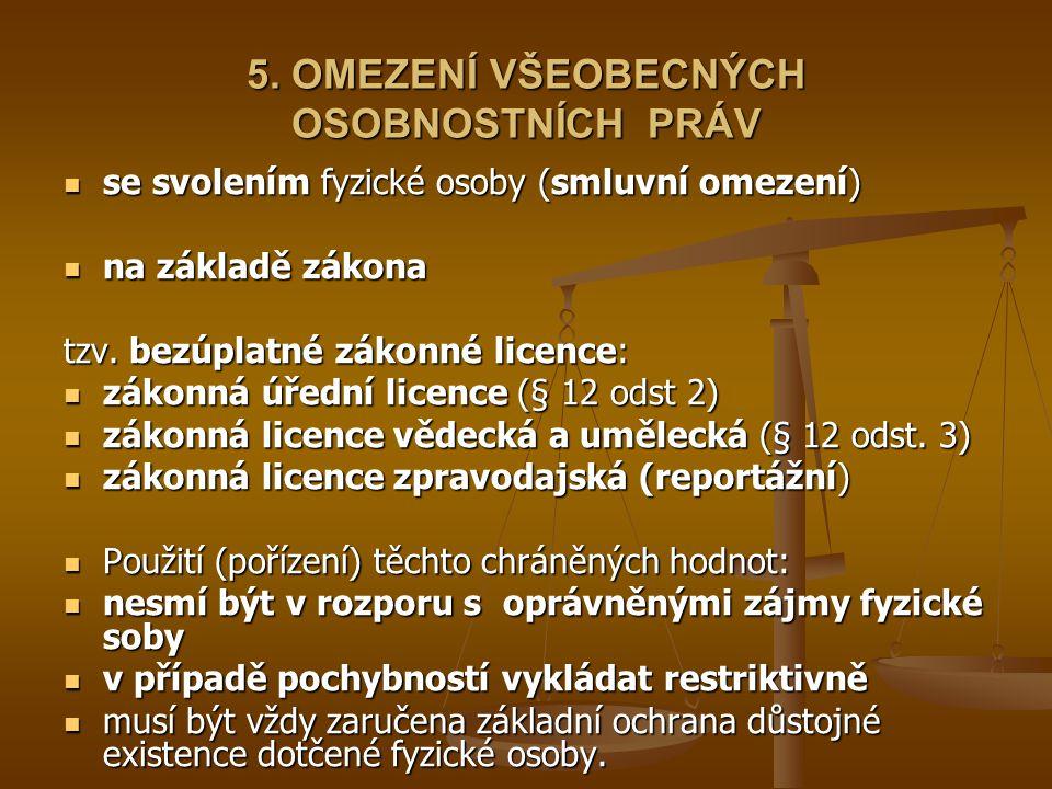 5. OMEZENÍ VŠEOBECNÝCH OSOBNOSTNÍCH PRÁV se svolením fyzické osoby (smluvní omezení) se svolením fyzické osoby (smluvní omezení) na základě zákona na