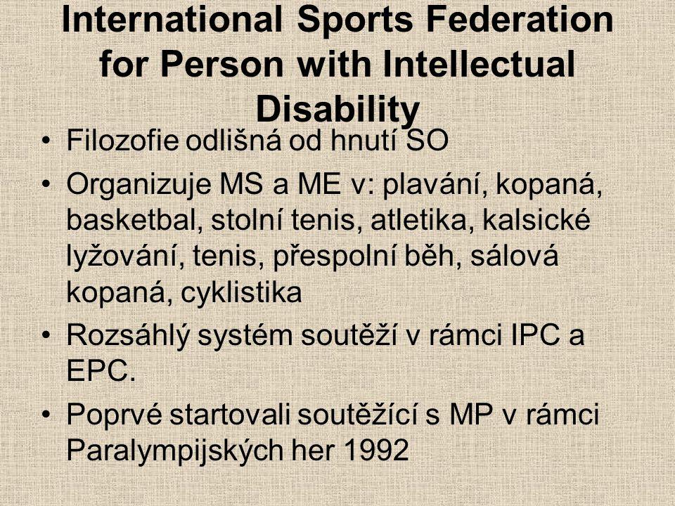 International Sports Federation for Person with Intellectual Disability Filozofie odlišná od hnutí SO Organizuje MS a ME v: plavání, kopaná, basketbal