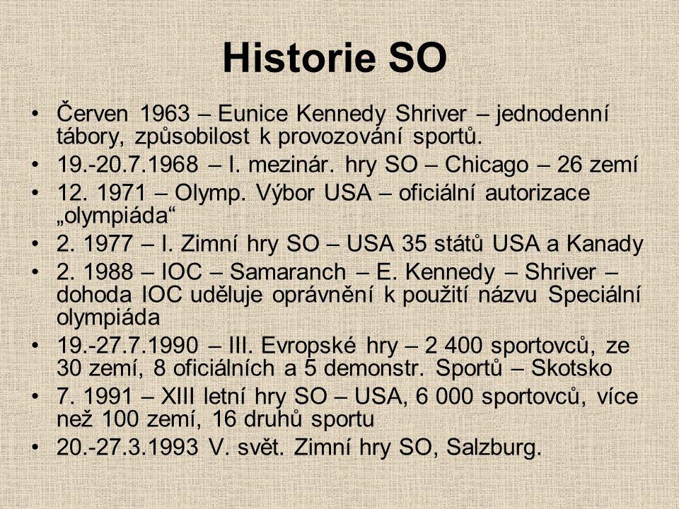Historie SO Červen 1963 – Eunice Kennedy Shriver – jednodenní tábory, způsobilost k provozování sportů. 19.-20.7.1968 – I. mezinár. hry SO – Chicago –