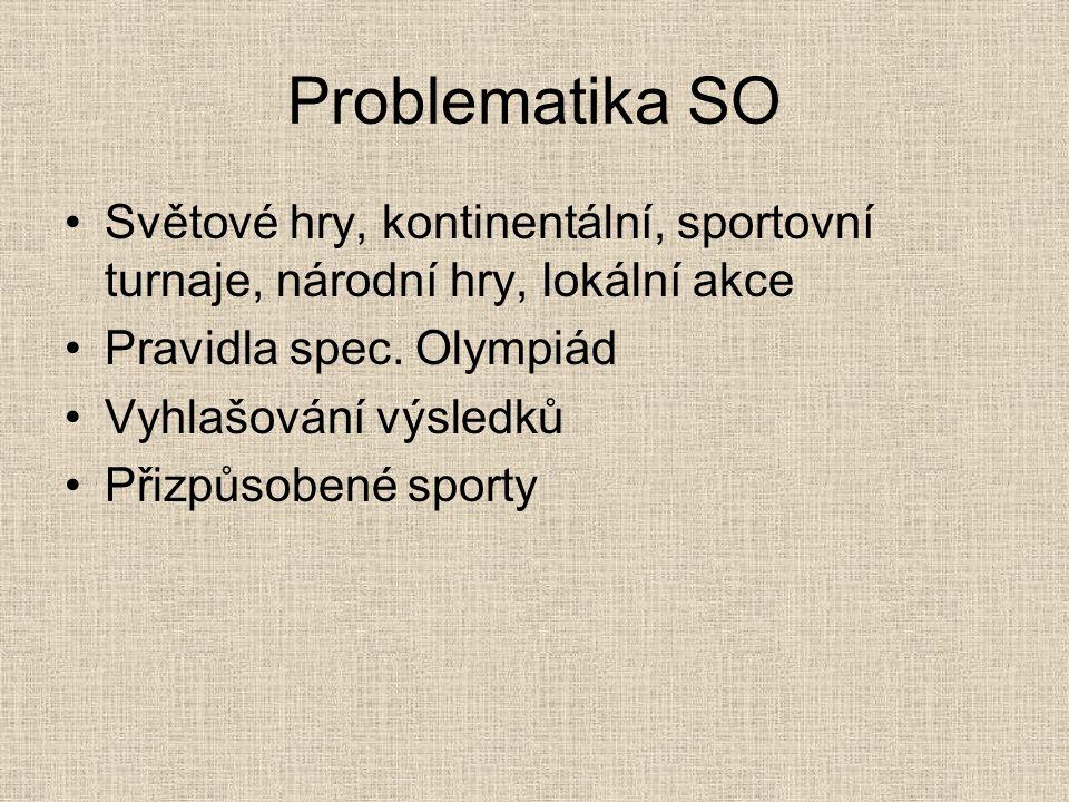 Problematika SO Světové hry, kontinentální, sportovní turnaje, národní hry, lokální akce Pravidla spec. Olympiád Vyhlašování výsledků Přizpůsobené spo