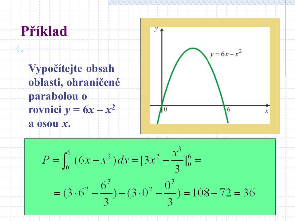 Příklad Vypočítejte obsah oblasti, ohraničené parabolou o rovnici y = 6x – x 2 a osou x.