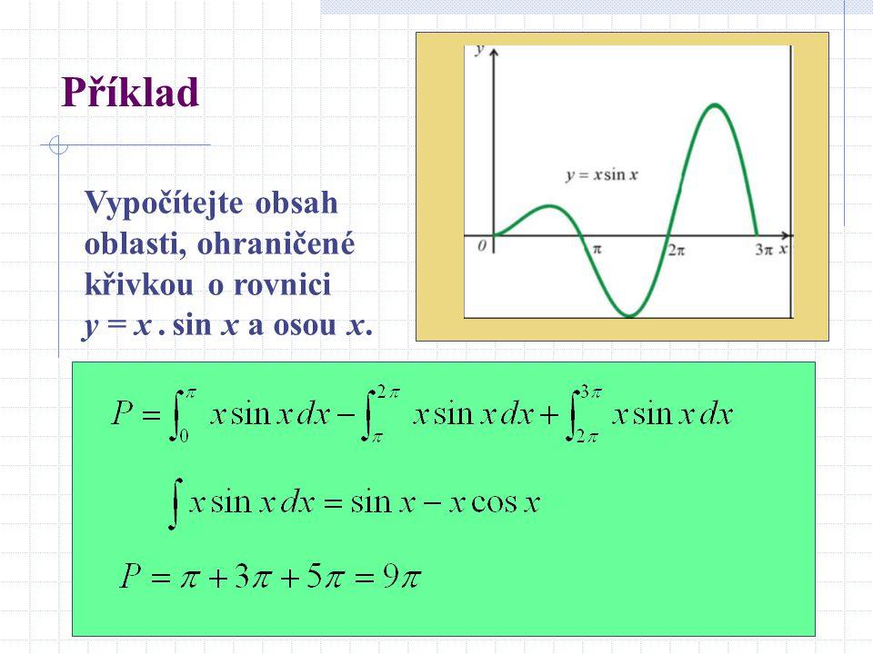 Příklad Vypočítejte obsah oblasti, ohraničené křivkou o rovnici y = x. sin x a osou x.