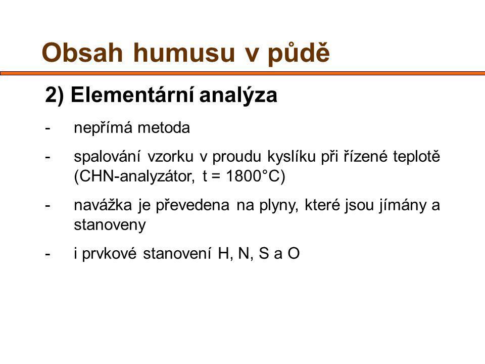2) Elementární analýza -nepřímá metoda -spalování vzorku v proudu kyslíku při řízené teplotě (CHN-analyzátor, t = 1800°C) -navážka je převedena na plyny, které jsou jímány a stanoveny -i prvkové stanovení H, N, S a O Obsah humusu v půdě