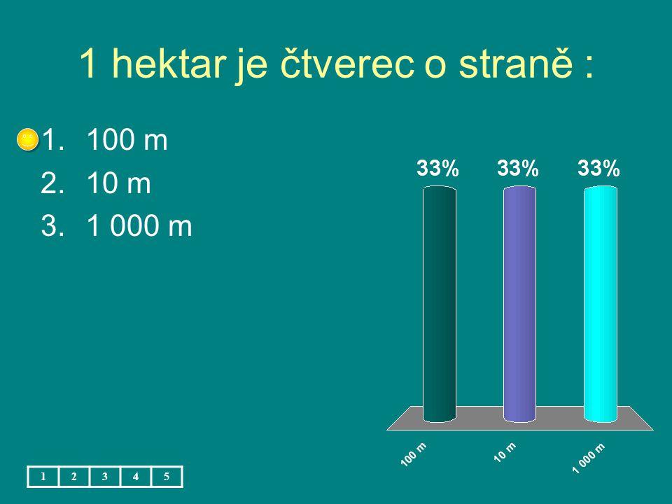 1 hektar je čtverec o straně : 1.100 m 2.10 m 3.1 000 m 12345