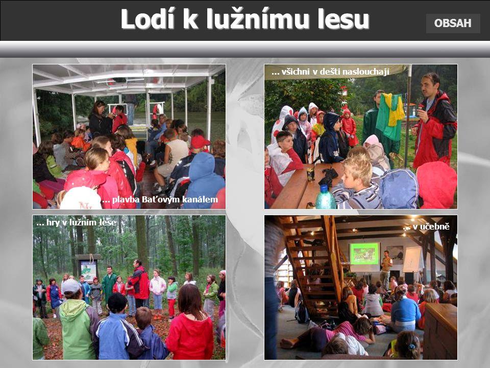 OBSAH Lodí k lužnímu lesu … plavba Baťovým kanálem … hry v lužním lese … všichni v dešti naslouchají … v učebně