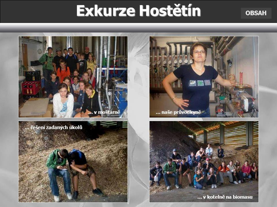 OBSAH Exkurze Hostětín … v moštárně … řešení zadaných úkolů … naše průvodkyně … v kotelně na biomasu