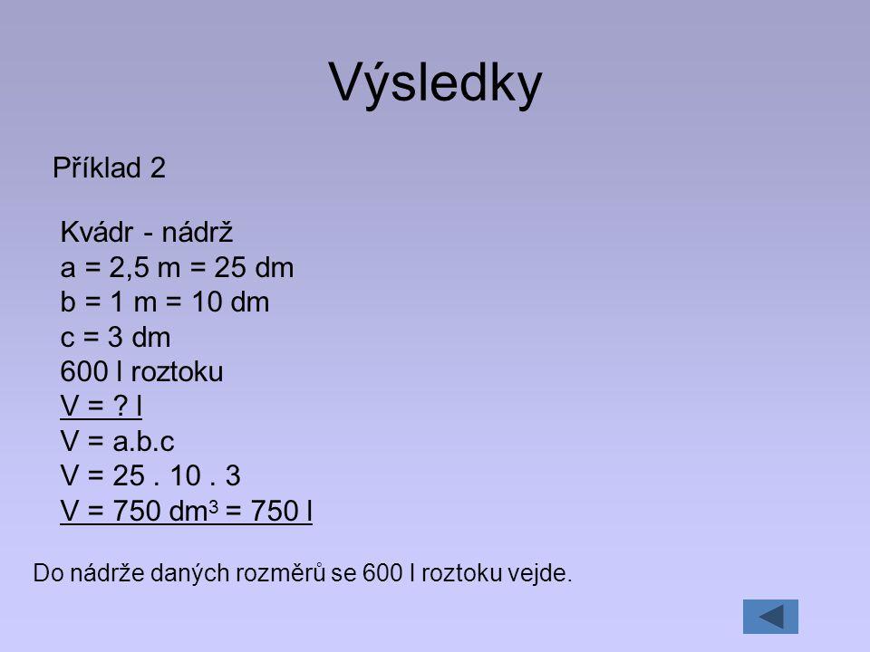 Výsledky Příklad 2 Kvádr - nádrž a = 2,5 m = 25 dm b = 1 m = 10 dm c = 3 dm 600 l roztoku V = ? l V = a.b.c V = 25. 10. 3 V = 750 dm 3 = 750 l Do nádr