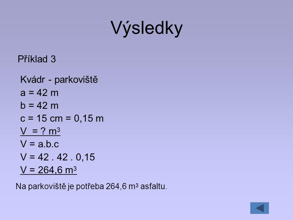 Výsledky Příklad 3 Kvádr - parkoviště a = 42 m b = 42 m c = 15 cm = 0,15 m V = ? m 3 V = a.b.c V = 42. 42. 0,15 V = 264,6 m 3 Na parkoviště je potřeba