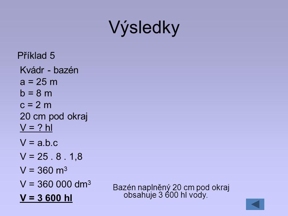 Výsledky Příklad 5 Kvádr - bazén a = 25 m b = 8 m c = 2 m 20 cm pod okraj V = ? hl V = a.b.c V = 25. 8. 1,8 V = 360 m 3 V = 360 000 dm 3 V = 3 600 hl