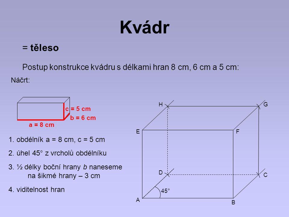 Kvádr c b a a, b, c – délky hran kvádru dolní podstava plášť horní podstava Kvádr má: -12 hran -6 stěn (obdélníky) -8 vrcholů -u s – stěnová úhlopříčka -12 stěnových úhlopříček -u t – tělesová úhlopříčka -4 tělesové úhlopříčky usus utut