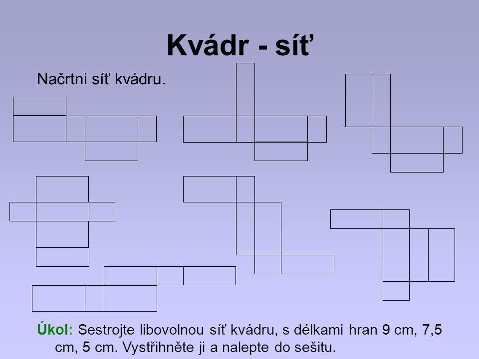 Výsledky Příklad 5 Kvádr - bazén a = 25 m b = 8 m c = 2 m 20 cm pod okraj V = .
