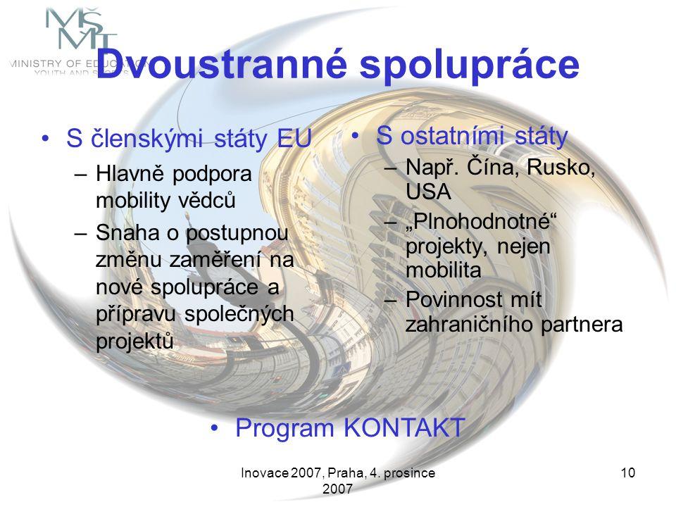 Inovace 2007, Praha, 4. prosince 2007 10 Dvoustranné spolupráce S členskými státy EU –Hlavně podpora mobility vědců –Snaha o postupnou změnu zaměření