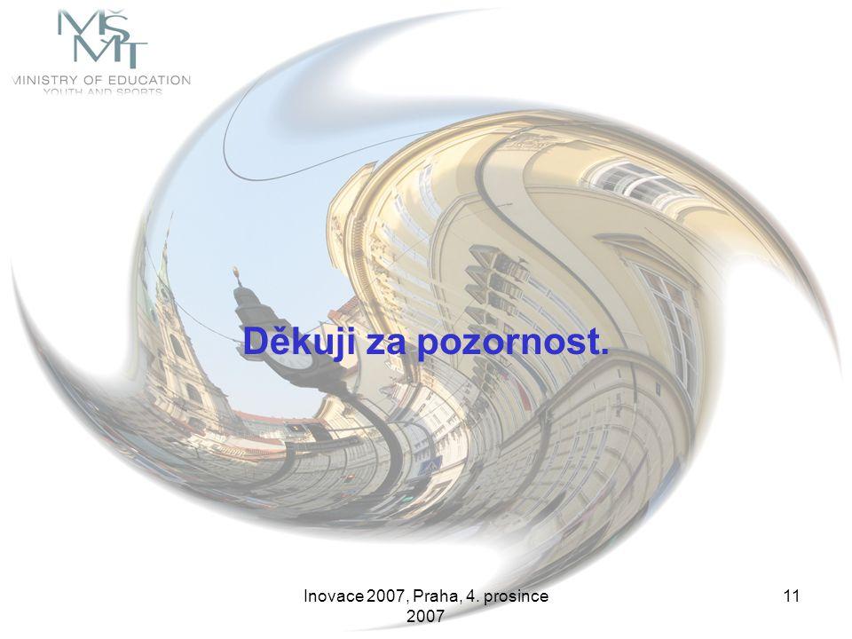 Inovace 2007, Praha, 4. prosince 2007 11 Děkuji za pozornost.