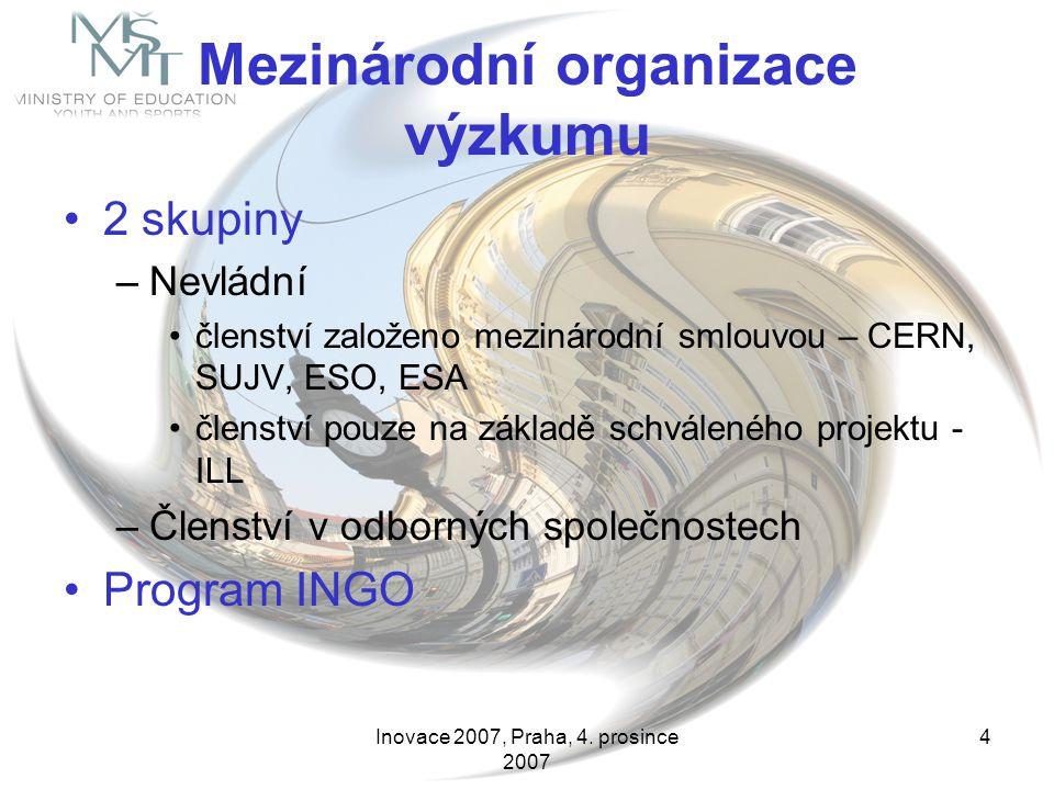 Inovace 2007, Praha, 4. prosince 2007 4 Mezinárodní organizace výzkumu 2 skupiny –Nevládní členství založeno mezinárodní smlouvou – CERN, SUJV, ESO, E