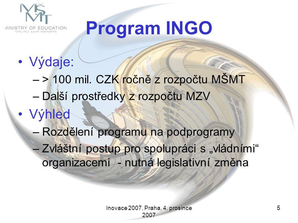 Inovace 2007, Praha, 4. prosince 2007 5 Program INGO Výdaje: –> 100 mil. CZK ročně z rozpočtu MŠMT –Další prostředky z rozpočtu MZV Výhled –Rozdělení