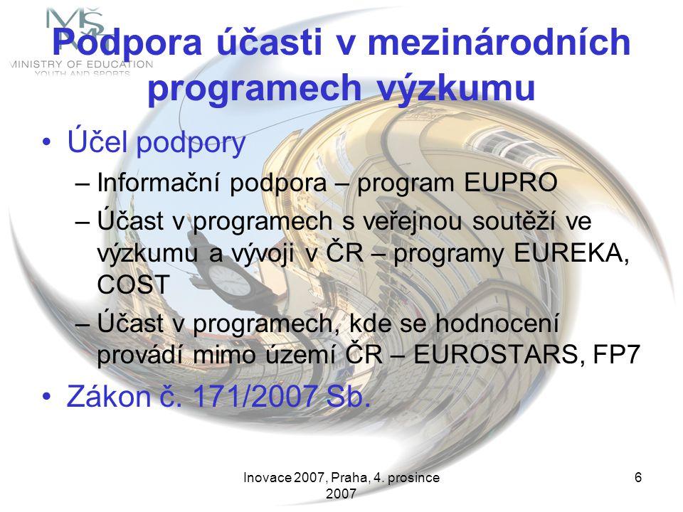 Inovace 2007, Praha, 4. prosince 2007 6 Podpora účasti v mezinárodních programech výzkumu Účel podpory –Informační podpora – program EUPRO –Účast v pr