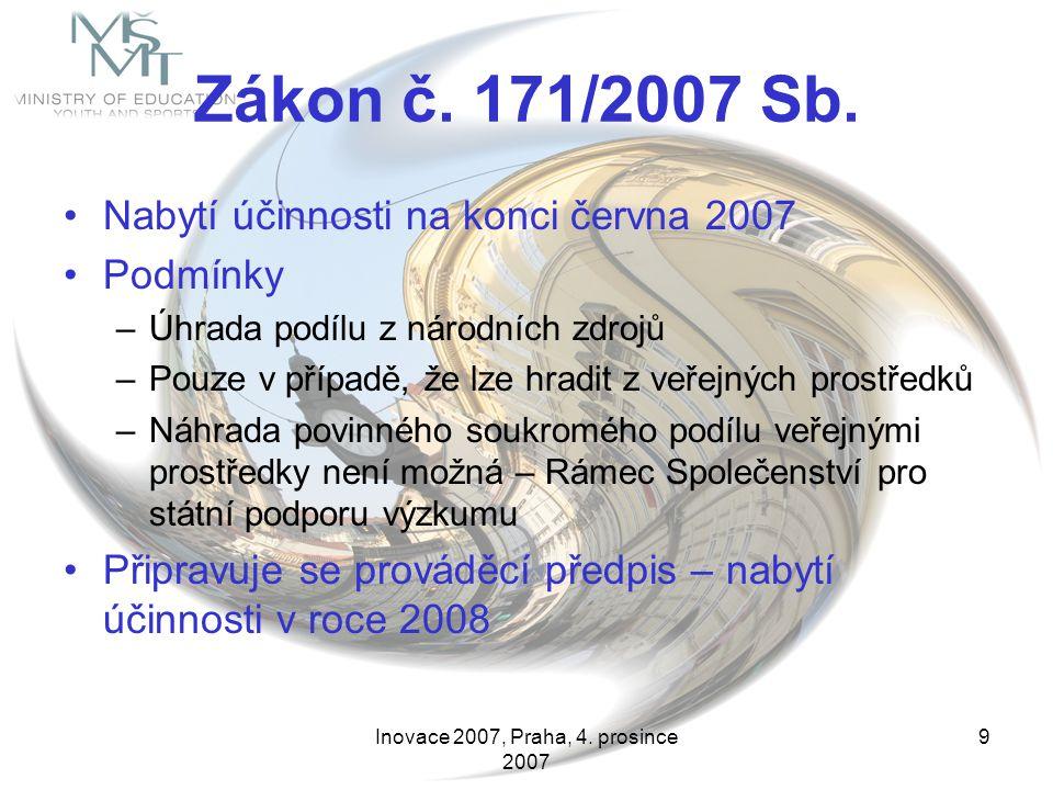 Inovace 2007, Praha, 4. prosince 2007 9 Zákon č. 171/2007 Sb. Nabytí účinnosti na konci června 2007 Podmínky –Úhrada podílu z národních zdrojů –Pouze