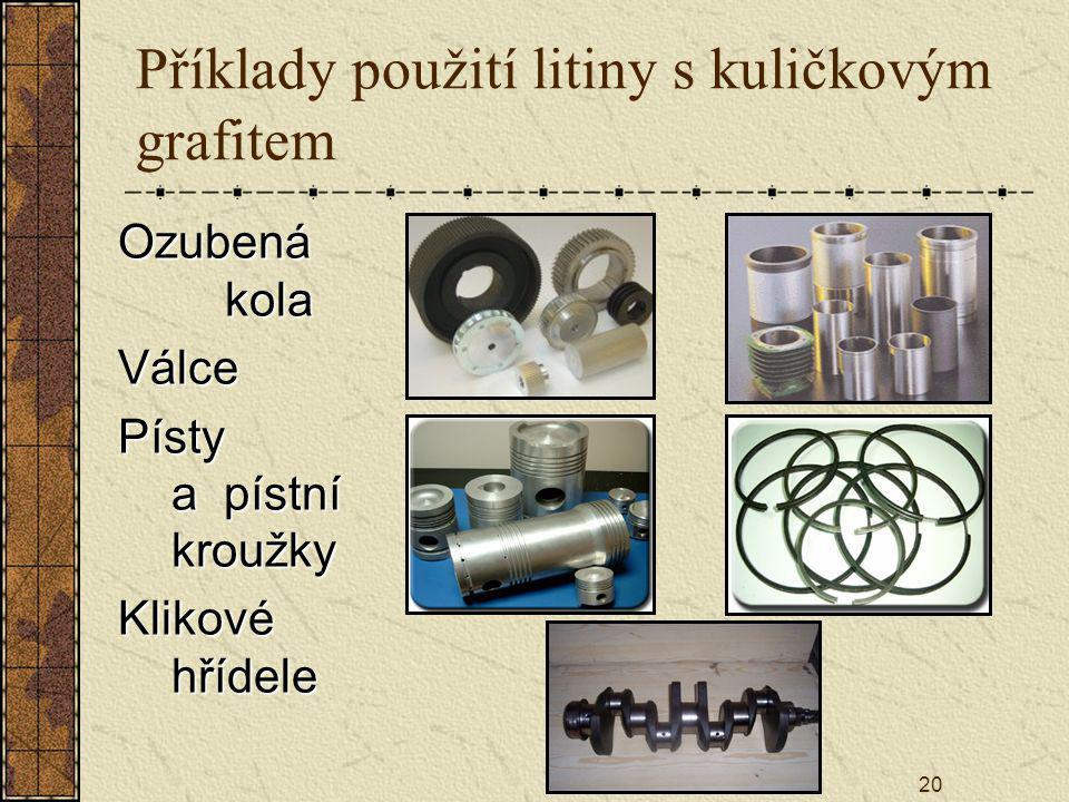20 Příklady použití litiny s kuličkovým grafitem Ozubená kola Válce Písty a pístní kroužky Klikové hřídele