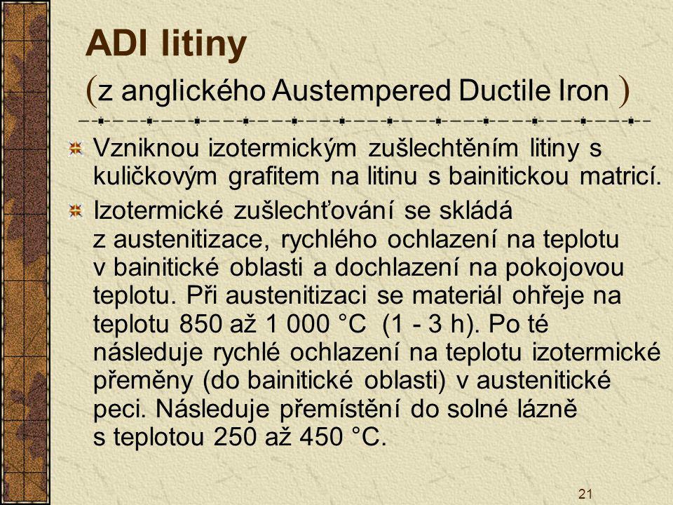 21 ADI litiny ( z anglického Austempered Ductile Iron ) Vzniknou izotermickým zušlechtěním litiny s kuličkovým grafitem na litinu s bainitickou matric