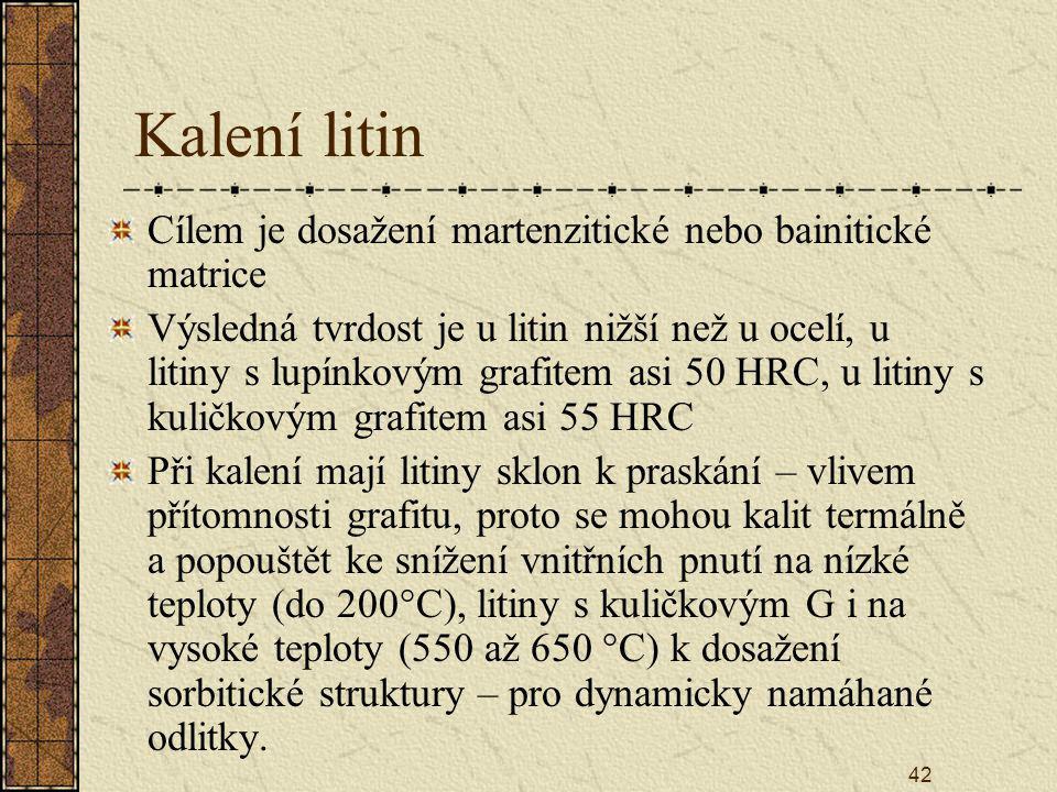 42 Kalení litin Cílem je dosažení martenzitické nebo bainitické matrice Výsledná tvrdost je u litin nižší než u ocelí, u litiny s lupínkovým grafitem