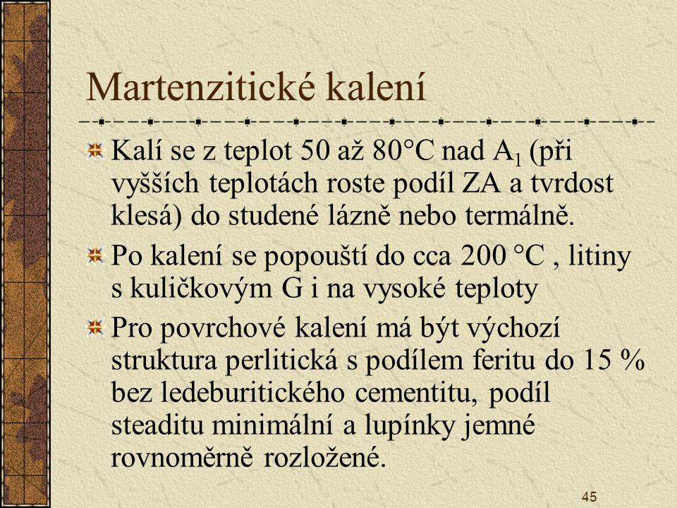 45 Martenzitické kalení Kalí se z teplot 50 až 80°C nad A 1 (při vyšších teplotách roste podíl ZA a tvrdost klesá) do studené lázně nebo termálně. Po
