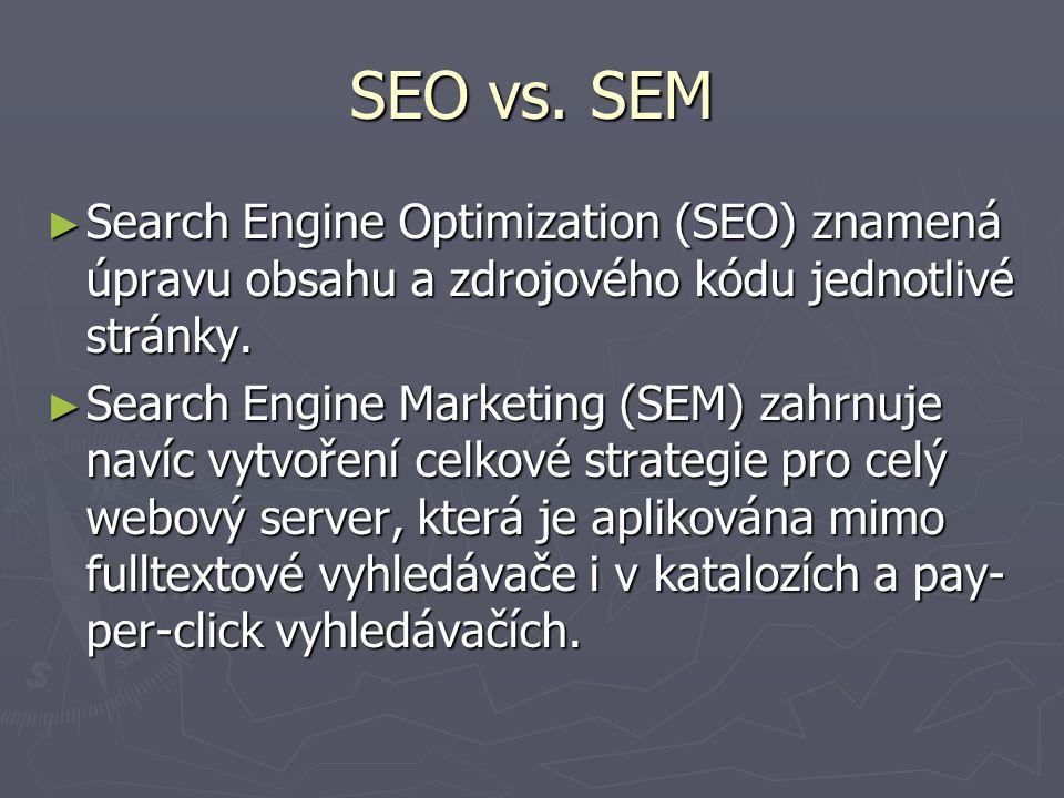 Zdroje ► Thurow, Shari: Search Engine Visibility, NewRiders 2003 ► Konference SEO  http://seo.nawebu.cz/ http://seo.nawebu.cz/ ► Letní škola SEO na Lupě  http://www.seo-sem.cz/letni-skola-seo/ http://www.seo-sem.cz/letni-skola-seo/ ► Interval o SEO  http://interval.cz/serial.asp?serial=133 http://interval.cz/serial.asp?serial=133