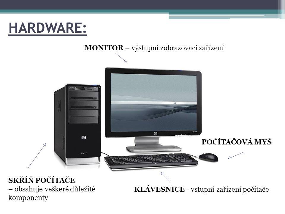 HARDWARE: MONITOR – výstupní zobrazovací zařízení POČÍTAČOVÁ MYŠ SKŘÍŇ POČÍTAČE – obsahuje veškeré důležité komponenty KLÁVESNICE - vstupní zařízení p