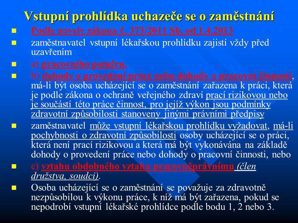 Vstupní prohlídka uchazeče se o zaměstnání Podle novely zákona č. 373/2011 Sb, od 1.4.2013 zaměstnavatel vstupní lékařskou prohlídku zajistí vždy před