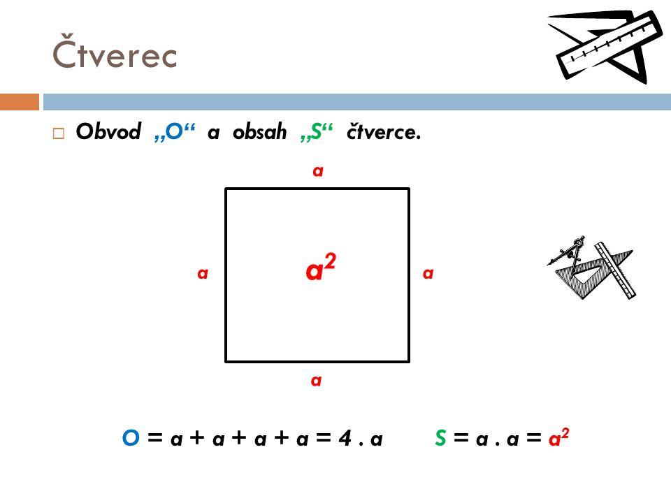"""Čtverec  Obvod """"O"""" a obsah """"S"""" čtverce. O = a + a + a + a = 4. a S = a. a = a 2 a aa a a2a2"""