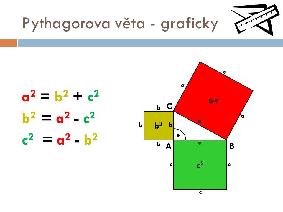Pythagorova věta - graficky a 2 = b 2 + c 2 b 2 = a 2 - c 2 c 2 = a 2 - b 2 c c2c2 b2b2 a2a2 AB C a c b cc b b b a a a
