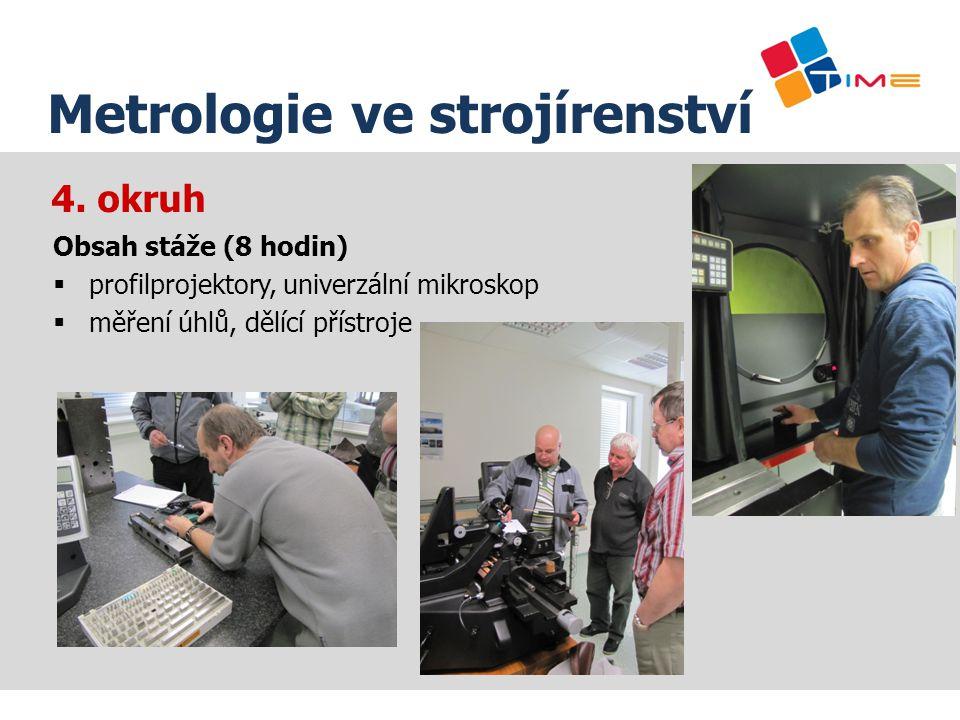4. okruh Název prezentace Metrologie ve strojírenství Obsah stáže (8 hodin)  profilprojektory, univerzální mikroskop  měření úhlů, dělící přístroje