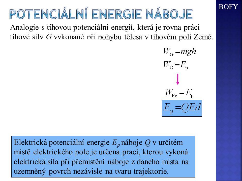 + Analogie s tíhovou potenciální energií, která je rovna práci tíhové síly G vykonané při pohybu tělesa v tíhovém poli Země. Elektrická potenciální en