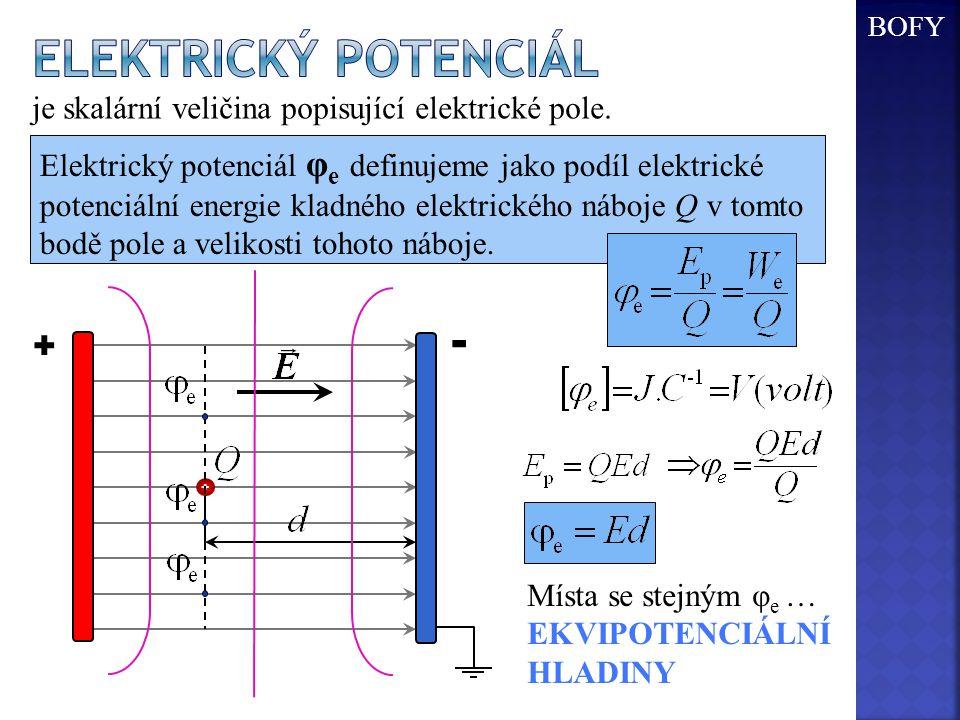 + - + je skalární veličina popisující elektrické pole. Elektrický potenciál φ e definujeme jako podíl elektrické potenciální energie kladného elektric