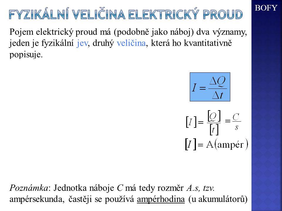 + S - obsah průřezu - Pojem elektrický proud má (podobně jako náboj) dva významy, jeden je fyzikální jev, druhý veličina, která ho kvantitativně popis